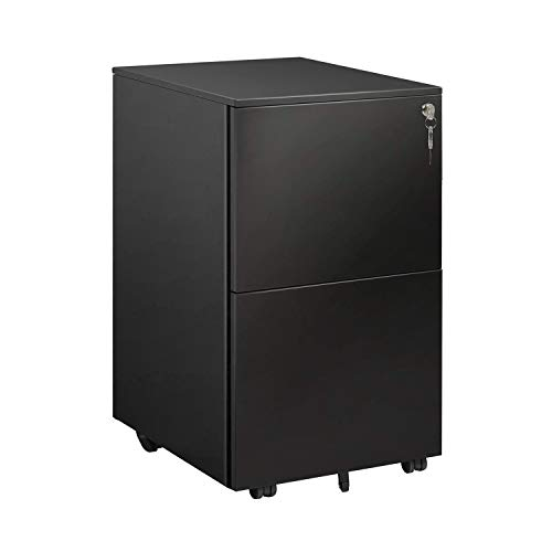DEVAISE 2 Drawer Mobile File Cabinet with Lock, Metal Filing Cabinet for Legal/Letter/A4 Size, Fully Assembled Except Wheels, Black
