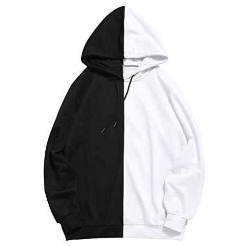 FRCOLT Mens Casual Half Color Block Symmetry Loose Outwear Hoodies (M, Black)