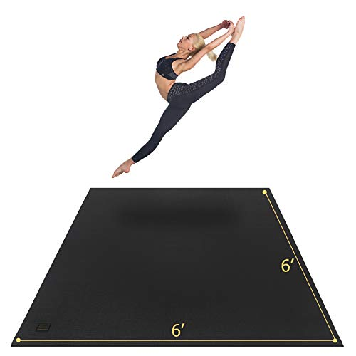 """Gxmmat Large Yoga Mat 72""""x 72""""(6'x6') x 7mm for Pilates Stretching Home Gym Workout, Extra Thick Non Slip Anti-Tear Exercise Mat, Use Without Shoes"""