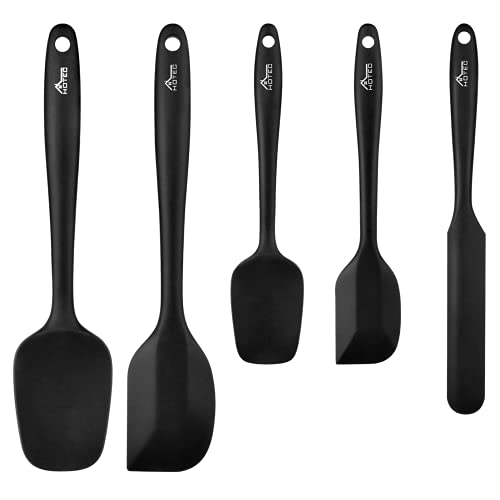 HOTEC Food Grade Silicone Rubber Spatula Set Kitchen Utensils for Baking, Cooking, and Mixing High Heat Resistant Non Stick Dishwasher Safe BPA-Free Black Set of 5