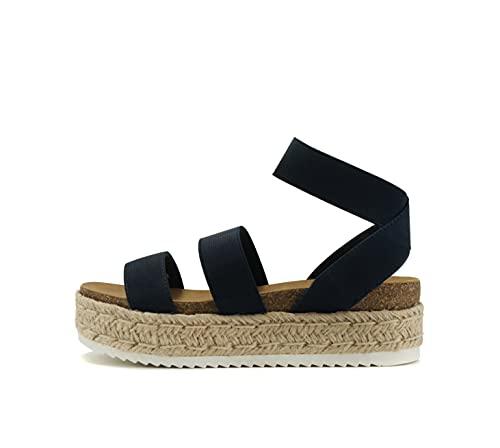 Soda Spring ~ Slip On Espadrille Platform Wedge Sandals with elastic ankle strap (Navy, numeric_7)