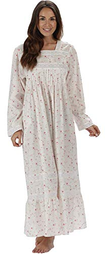 The 1 for U Cotton Nightgown with Pockets - White (XL, Vintage Rose)