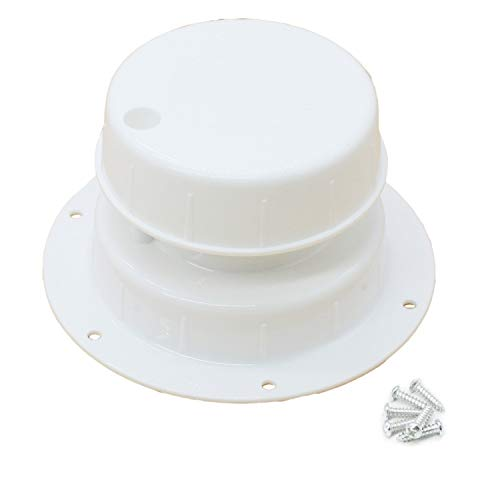 X-Haibei RV Plumbing Vent Cap White Plastic Roof Sewer Vent Cap for Trailer Camper 1 to 2 3/8 inch O.D. Pipe with Screws