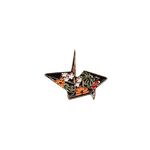 Jfsmgs Broche Moda Dibujos Animados Broche Insignias Insignias Astronauta Dolphin Shark Whale Origami Crane Esmalte Pines Denim Bag Marine Animal Mujer (Metal Color : Origami)