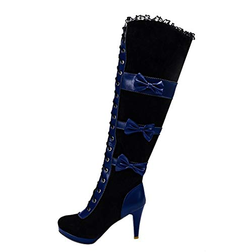 Check Out This FAPIZI Women Thigh High Boots Halloween Cosplay Low Stiletto Heel Platform Bow Buckle...