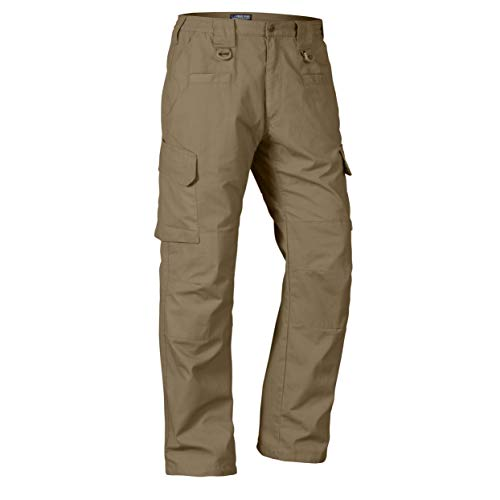 LA Police Gear Men's Water Resistant Operator Tactical Pant with Elastic Waistband - Coyote - 40 x 34