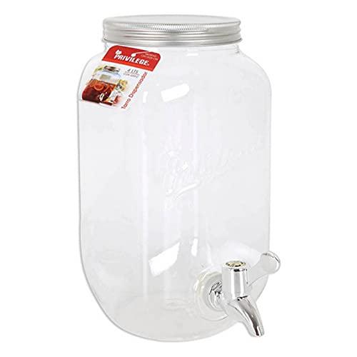 Tarro dispensador de bebidas de plástico con grifo 4 litros, botella, bote, frasco con tapón metálico de rosca y línea de medida, 26 x 13 cm