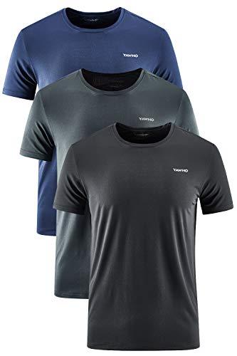 YAWHO Herren Sport T-Shirt 1 Bis 3er Pack Kurzarm Rundhals Atmungsaktiv Schnelltrocknendes Funktionsshirt Laufshirt Fitnessshirt Trainingsshirt für Running Workout Bodybuilding Gym (3 Pack 0225, 2XL)