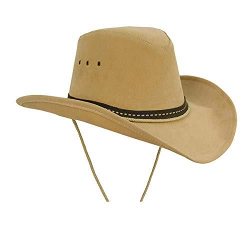 Kakadu Western, Cowboy Linedance Sommerhut mit formbarer Krempe und Kinnband | Herren Damen | Western Style, L, Beige