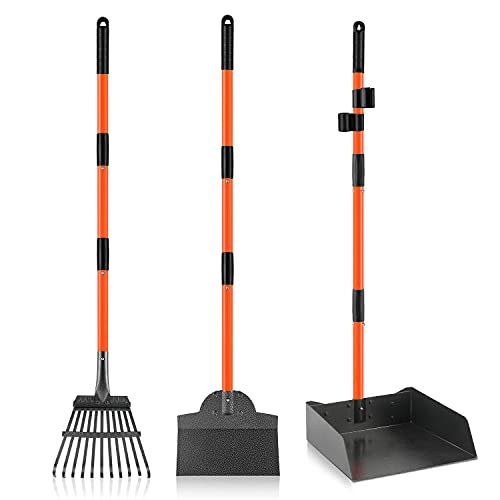 ROIUBPO Pooper Scooper for Large Dogs, Bigger Dog Pooper Scooper with Extra Large Metal Tray, Rake and Spade, Easy to Use Long Handle Poop Scoop for Pets, Great for Lawn/Grass/Dirt/Gravel