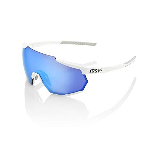 100 Percent RACETRAP-Matte White-HIPER Blue Multilayer Mirror Lens, Occhiali Ciclismo Uomo, M