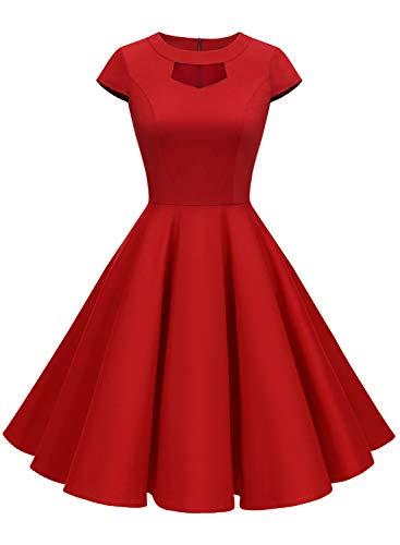 ALAGIRLS Damen 50er Vintage Cocktailkleid Abschlussball Rockabilly Retro Schwingen Kleid ALA6004 Red XL