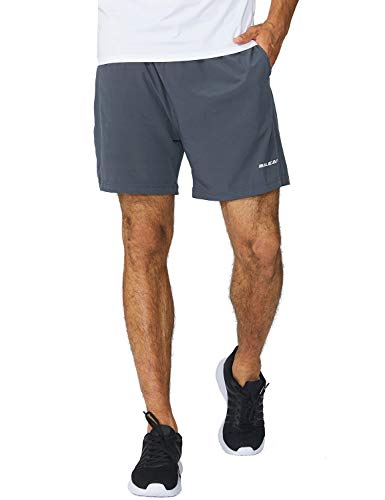 BALEAF Men's 5 Inches Running Athletic Shorts Zipper Pocket Gray Size M