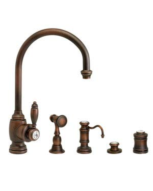 Learn More About Waterstone 4300-4-WB Hampton Kitchen Faucet 4pc. Suite Weathered Brass