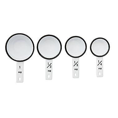 Creative Co-Op DA6963 Set of 4 Black & White Enameled Measuring Cups