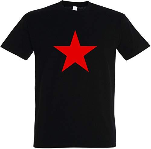 Herren T-Shirt Red Star - Roter Stern (S, schwarz)