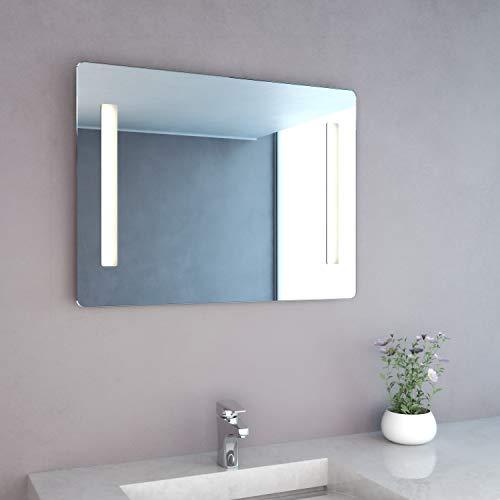 NEG Badspiegel Mitra 60x80cm (HxB) Spiegel (abgerundet) mit integrierter und energiesparender LED-Beleuchtung (warmweiß 3000 Kelvin) IP44