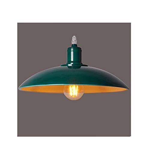 Lampada a Sospensione E27 Vintage Industriale Edison Lampada a Soffitto Metallo Plafoniera Lampadario Pendente Lampada per Bar Ristorante Retro (verde)
