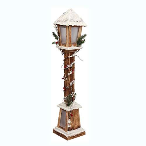 Natale Lanterna/Lantern Pendulum - LED, Fiocco Di Neve, Luce Stradale Legno - Decorazioni Di Natale, Mall Hotel Bar Home Decor Vineyard (Color : Brown)