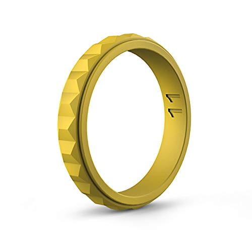 ASTERY Women Silicone Wedding Ring Band,Hypoallergenic Medical Grade Silicone,Durable,Stretched and Comfortable 100% Guarantee,9 Colors (Golden, 9-9.5(18.9mm))