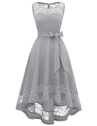 Damen Vintage Floral Spitze Ärmellos Hi-Lo Cocktail Formell Swing Kleid Abendkleider elegant für Hochzeit Grau Ballkleid Grey XS