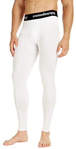 COOLOMG Mens Compression Pants Baselayer Cool Dry Sports Pants Leg Tights for Men Boys Youth White L