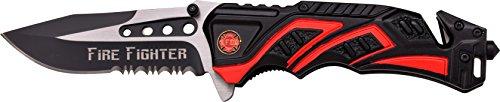 MTech USA Taschenmesser MT-A865 Serie, Messer DESIGNER ALU BLACK/ ROT Griff, scharfes Jagdmesser, Outdoormesser 8,89 cm ROSTFREI Klinge Halbgezahnt, Klappmesser für  Angeln/ Jagd