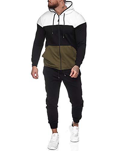 Code47 | Herren Trainingsanzug | Jogginganzug | Sportanzug | Jogging Anzug | Hoodie-Sporthose | Jogging-Anzug | Trainings-Anzug | Jogging-Hose | Modell JG-1083 Weiss-Schwarz-Grün M