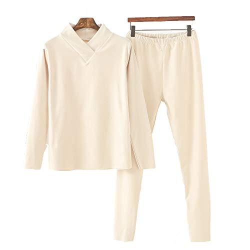 LangfengEU Pijamas de Invierno para Mujer, Ropa de hogar cálida de Terciopelo Grueso, Ropa Interior con Cuello en V y Costura de Cuello Alto, Traje Informal de Dos Piezas