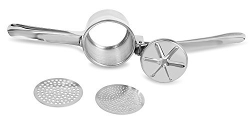 Internet's Best Chrome Potato Ricer with 2 Interchangeable Discs and Masher