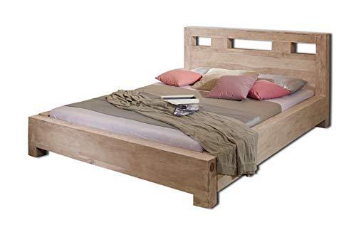 MASSIVMOEBEL24.DE Palisander Massivmöbel Bett 140x200 Sheesham Holz massiv Nature Grey #203
