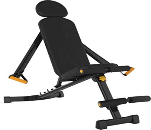 HUJPI verstellbare Sit-Up-Bank, Klappbar Hantelbank höhenverstellbar Trainingsbank mit hochwertigem dickem Polster/Rückenlehne für Ganzkörpertraining für´s Home-Gym,Black