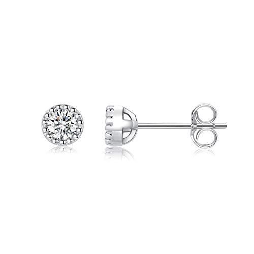 Silver Stud Earrings for Women Girls, Tiny Hypoallergenic Stud Earrings Small S925 Sterling Silver Round Cubic Zirconia Studs Piercing Sleeper Helix Cartilage Earrings, 2mm/3mm/4mm/5mm