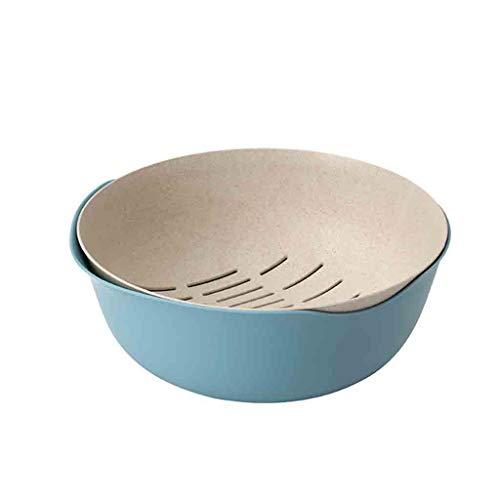 Colander with Plastic Bowl 23 x 23 x10cm Strainer Bowl Set Basket Colander Set Multi Purpose Fine Drainage Holes Nesting Bowl Set for Washing Draining Rice Vegetables Fruits Salad (Light Blue)