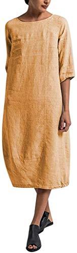 HX fashion Leinenkleid Damen Frühling Und Sommer Lang Tunika Kleid Vintage Baggy Party Kleider Kleid Strandkleid Größe Größe Mit Schwarz Armee Grün Rot (Color : Z-Z-D-9, One Size : XL)