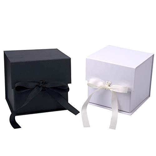 RUSPEPA 2Pcs Weiß Und Schwarz Geschenkbox Mit Ripsband, 15,3 X 15,3 X 15,3 cm Zusammenklappbare Geschenkbox Mit Magnetverschluss Für Kaffeetasse, Party, Hochzeit, Geschenkverpackung, Lagerung