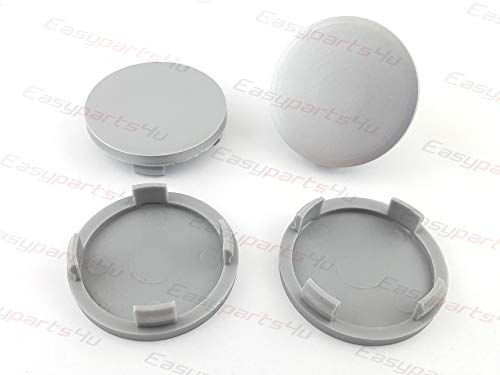 A25-7 - Set de 4 tapas de buje para llanta, exterior de 55 mm, interior de 52 mm, sin logotipo, color gris