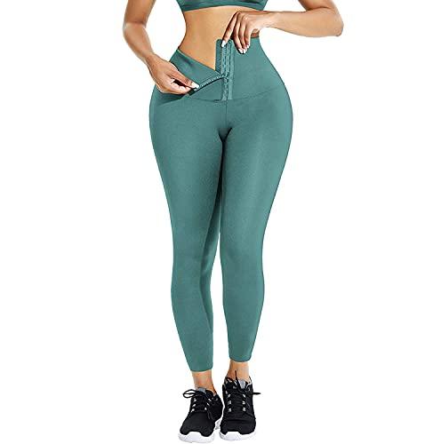 Pantalon de Yoga Extensible de contrôle du Ventre Taille Haute pour Femmes, Leggings de Sport à séchage Rapide Minceur, Cadeau de fête des mères pour la Saint (Vert, M)