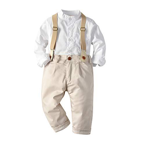 Juego de ropa de caballero para niños pequeños con mangas largas y pantalones de tirantes - blanco - 12 -18 meses