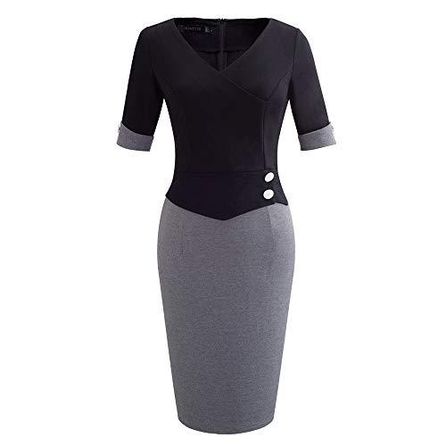 QUNLIANYI Plus Size Feestjurken Vrouwen Korte Patchwork Elegante Office Lady Jurk Button Wear To Work Jurk