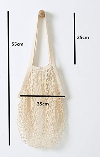XwanjianX 5 Pack Portable/Reusable/Washable Cotton Mesh String Organic Organizer Shopping Handbag Long Handle Net Tote (Grey Blue/Black/Beige/Pink/Purple)