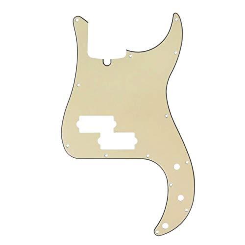 IKN 13 Loch Modern Style Standard P Bass Pickguard 3Ply Scratch Plate für viersaitige Precision Bass Modelle Gitarre, Creme