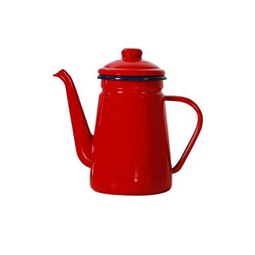 CUJUX Esmalte Cafetera Verter la Leche Encima del jarro de Agua Pitcher Barista Tetera Hervidor de Cocina de Gas e inducción