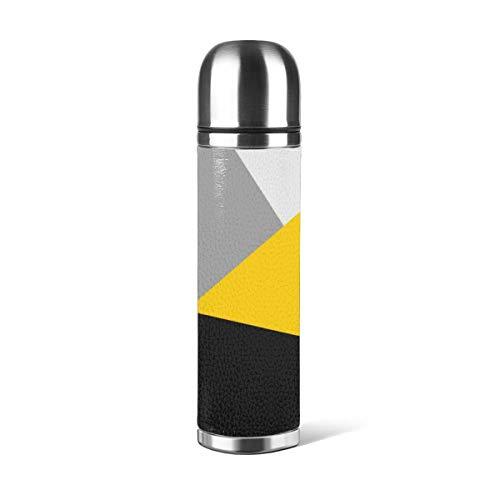 Art Fan-Design - Botella de agua de acero inoxidable, diseño simple, moderno, color gris, amarillo y negro geo aislado al vacío, de piel a prueba de fugas, doble pared, contenedor de viaje, termo de 500 ml