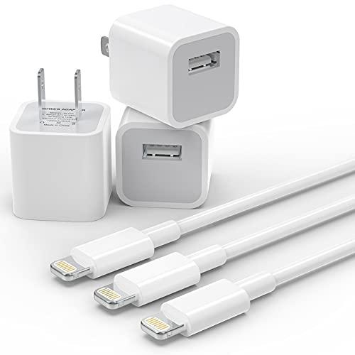 PLmuzsz iPhone-Ladekabel, Apple, MFi-zertifiziert, 3 Stück Datensynchronisations- und Ladekabel mit 3 USB-Wand-Ladegerät-Reiseadapter, kompatibel mit iPhone 12 Pro/11 Pro/Xs/XR/X/8/8Plus und mehr
