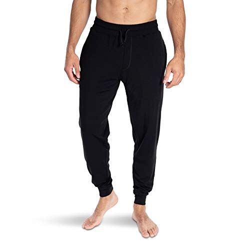 Woolly Clothing Men's Merino Wool Jogger Sweatpant - Wicking Breathable Anti-Odor L BLK