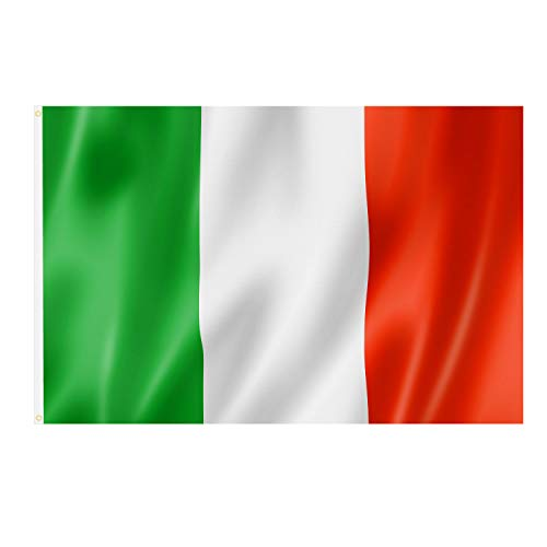 TRIXES Große italienische Nationalflagge mit Ringösen zum Aufhängen 90x150cm für Fußball World Cup Europameisterschaft und andere Sportveranstaltungen