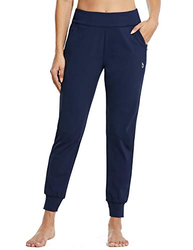 BALEAF Women's Tapered Joggers High Waisted Sweatpants with Zipper Pockets Active Pants for Running Navy XL