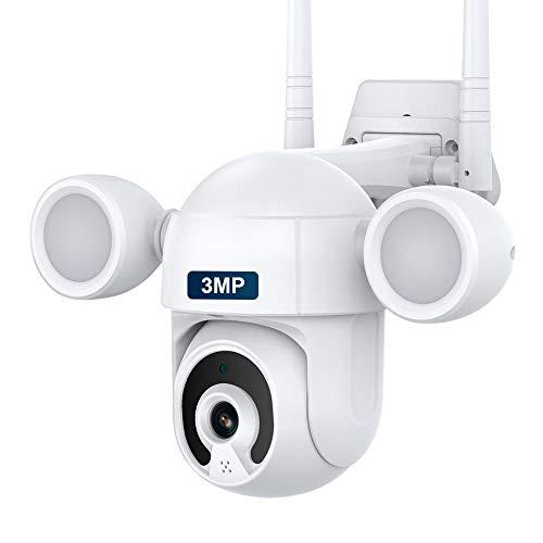 SHIWOJIA Cámara de Vigilancia WiFi para exteriores, 3MP PTZ CCTV Cámara de Seguridad con IP66 Impermeable, Detección de Movimiento, Audio Bidireccional. ( Compatible con Alexa y Google Home)