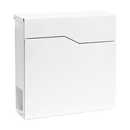 Buzón Diseño Moderno V19 Blanco Compartimiento Periódico Acero recubierto en polvo